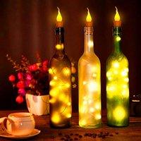 Toptan Twinkle Star 10x Sıcak Şarap Şişesi Mum Şekli Dize Işık 20 LED Gece Peri Işıkları Lamba Dize