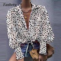Fanbety Kadınlar Zarif Çentikli Yaka Düğmesi Bluz Rahat Fener Uzun Kollu Üstleri Gömlek Sonbahar Seksi Ofis Bayan Katı Bluzlar T200321