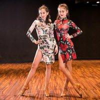 Сексуальное латинское танцевальное платье женщин танго сальса Ча часа самба румба бальная практика носить выступление наряд печать Cheongsam df17831