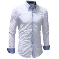 New Mens Camicia 2020 Marca Casual Casual Camisa Masculina Colore solido Abito da Business Camicia a maniche lunghe Slim Shirts Dimensioni XXXL1