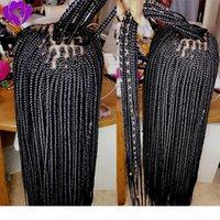 28 Zoll geflochtene Perücken für schwarze Frauen synthetische Spitze Front Perücke mit Babyhaar Black Box Braids Natürlich Kostenlose Trennperücke