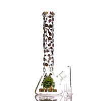 Narghilè 7mm Becher Base Base Acqua di vetro Bongs 14 pollici Logo di funghi con tubo di catcher di ghiaccio per erba