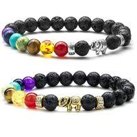 Kreatives neues Produkt: geschmolzener Rock Perlen Sieben Chakra-Elefant-Armband für Männer und Frauen mit weißer Kiefer