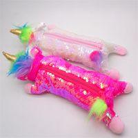 Moda sereia sequin caneta sacos unicórnio forma de pelúcia cosméticos organizador crianças meninas moedas bolsa para favores de festa 9sla e1