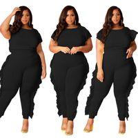 Abbigliamento di dimensioni Plus Size XL-4XL Set da donna O-Collo manica corta in vita a vita alta patchwork pieghette a pizzicati Pantaloni a matita Abiti per discoteca
