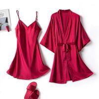 Женские пижамы летом сатин шелк пижамы сексуальные женщины сплошные цвета спагетти ремешок ночной белье халаты белье набор нижнего белья ночной белье # G31