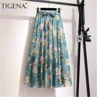 Tigena floral impressão chiffon saia longa mulheres moda 2020 verão boho feriado uma linha alta cintura plissada saia feminina com cinto1