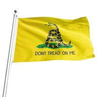 3x5FT Treten Sie nicht auf mir Gadsden-Flagge 90 * -150cm Schlange Gadsden-Flagge Gelb Außen Banner HHA1672