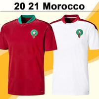 2021 Maroc Team National Hommes Soccer Jerseys Hakimi Ziyech Accueil Rouge Élevé Chemise de football Blanche Saiss El- Arabi Fajr En-Nesyri Sleeve Short