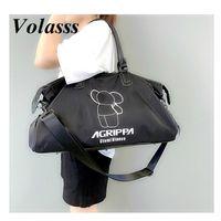 Volasss Mulheres Lona Totes Totes Bolsa Grande Capacidade Esportes Saco De Desporto Para Feminino Moda Desporto Gym Double Zipper Handbags