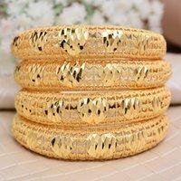 Annayoyo 4pcs India Ethiopian Bracelet Bangles For Women Arab Ethiopian Africa Dubai Gold Color Bangle Jewelry Gift for women Y1126
