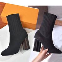 Sonbahar Kış Çorap Topuklu Topuk Çizmeler Moda Seksi Örme Elastik Boot Tasarımcısı Alfabetik Kadın Ayakkabı Lady Mektubu Kalın Yüksek Topuklu Büyük Boy 36-42 US4-US11 ile Kutusu