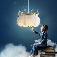 2021 Moderne LED-Kronleuchter Nordic Luxus Kristall Runde Droplight Kinderzimmer Kronleuchter Schlafzimmer Kronleuchter Innenbeleuchtung