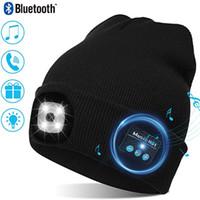 Горячие продажи LED 5.0 Bluetooth вязаная шляпа на открытом воздухе ночной ночной ночной рыбалка светодиодная лампа освещения Bluetooth Cap Bluetooth Hat DHL бесплатно