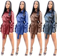 Womens Leather Trench Coats Long Sleeve Lapel Neck Outerwear...