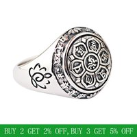 BALMORA Real 925 Sterling Silver Buddhism Retro Spinner Stacking Rings for Women Men Couple Six Words' Mantra Fashion Jewelry 201118