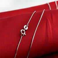 Gümüş DIY Takı Kolye Yaka 0.7mm 925 Ayar Gümüş Yılan Zincir Toptan 5 Parça
