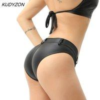 Kudyzon Низкая талия PU искусственные кожаные трусики мини женские трусы Bikini Pole Clubwear Button Booty Dance Shorts