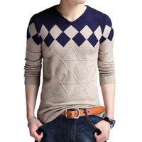 Browon Осенние старинные свитер мужчина воротник свитер рождественские свитера мода V-образным вырезом повседневные тонкие свитера мужчины для бизнеса 201124