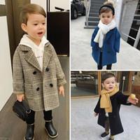Crianças casaco de lã primavera e outono novo crianças usam jaqueta de menino bonito médio e casaco longo para meninos outwear