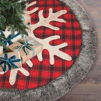 Noel süslemeleri ağaç etek, kar tanesi ve peluş ile 48 inç çuval bezi ekose etek, xmas tatil