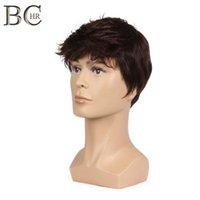 8 pouces d'hommes courts perruques droites perruques synthétiques pour cheveux mâles flûties réalistes brun naturel brun perruque