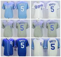 2018 Estilo Baseball 5 George Brett Jersey Homens Flexbase Cool Base Equipe Azul Branco Cinza Bege Tudo Costurado Alta Qualidade Desconto Barato