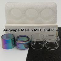 Augvape Merlin MTL 3 ml RTA Normal Tüp Temizle Yedek Cam Tüp Düz Standart 3 adet / kutu Perakende Paketi