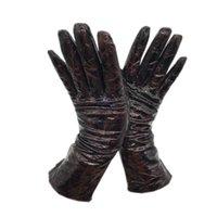 خمسة أصابع قفازات جلدية 2021 نمط جلد الغنم السيدات الشتاء براءات براءات مشرق المطبوعة الظلام نمط ث