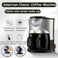 Máquina de Café Elétrica Americano Cafeta Espresso Mini Compradores De Café Com Cerâmica Dupla Cup1
