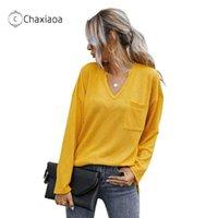 Camisetas femininas Chaxiaoa Moda Mulheres Camisetas Básicas Tops Manga Longa V-Pescoço Cor Sólida Malha Feminina Senhoras 2021 Roupas de Outono X435