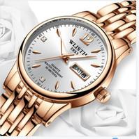 2021 Wlisth Women Watch Watch Steel Tungsteno Orologi da donna Amanti Dono Gold Rosa Cinese-Italiano Calendario Calendario Orologio al quarzo Orologio impermeabile
