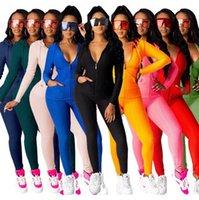 Femmes Suivi de la veste Zipp Pantalons à capuche Tenue féminine Couleur Solide Yoga Cardigan Leggings 2 pièces Jogger Ensembles Zyy312