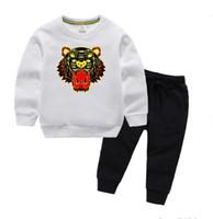 KZ бренд Tiger Baby младенческий мальчик роскошный дизайнер одежда детские наборы 2-7T детские толстовки и брюки 2 шт. / Комплект мальчиков девочек роскошь