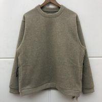 2020FW Kapital Tişörtü Erkek Kadın En Kaliteli Düz Renk Peluş Malzeme Vintage Crewneck Streetwear