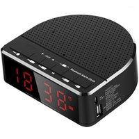 Digital Alarm Clock Radio z głośnikiem Bluetooth, czerwony cyfry wyświetlacz z 2 ściemniaczami, radiem FM, portu USB Nocnik LED Budzik.1