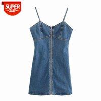 Designer LuxurySummer Denim Kleid Sexy Reißverschluss Camisole Minikleid Womens Slim Bodycon Sommerkleid Sleeveless Vestidos # A633