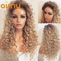 Lace Wigs Curly Ombre Brown Loira Humano Human Human Wig Onda Profunda 613 Colorido HD Para As Mulheres Full Preenchido Nó Blequeado Remy