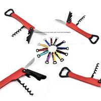 Candy Color Botting Settingers سكين متعددة الوظائف الفولاذ المقاوم للصدأ 4 في 1 الفلين برغي مزدوجة برأس المقلاة مقبض قابل للطي حار بيع 1 95TS G2