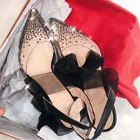Siyah Lace up Slingback Kadınlar Pompalar Yeni Kırmızı Alt Yüksek Topuklu PVC Kristal Bling Sivri Burun Düğün Parti Ayakkabı Tam Orijinal Ambalaj