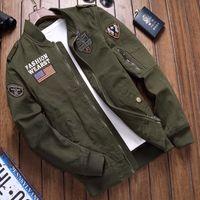 Yeni Moda Pamuklu Yıkama Erkek Aviator Rahat Çalışma Ceket Iyi Kalite Ordu Yeşil Asya Boyutu Hızlı Kargo Artan Erkekler Ceket Dış Giyim