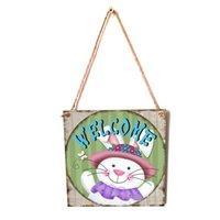 Adornos colgantes de madera Decoraciones de Pascua para el hogar lindo conejo DIY Crafts Etiquetas Felices colgantes de Pascua Decoración de la pared ZZC4287