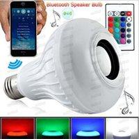 E27 스마트 LED 빛 RGB 무선 블루투스 스피커 전구 램프 음악 Dimmable 12W 음악 플레이어 오디오 24 키 원격 제어