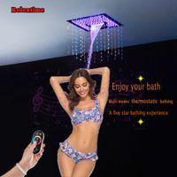새로운 스타일 크리스탈 쿼츠 시리즈 블루투스 연결 노즐 빛 LED 천장 샤워 헤드 임베디드 장착 된 강우량 폭포 DJ4201