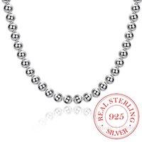Стерлинговое серебро 925 4 мм / 8 мм / 10 мм гладкие бусины шаровые цепи ожерелье для женщин модный свадебный участок драгоценности ювелирных изделий доставка / FDDA