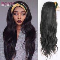 Houyan 24-Zoll-lange lockige Perücke weibliche wellenförmige lockige Haare mit Kopfbandperücke synthetische hitzebeständige Faser