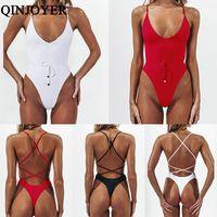 Qinjoyer backless um pedaço de maiô mulheres 2019 string tanga biquini preto push up swimwear monokini banho banho terno mulheres y200824
