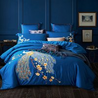 Juegos de cama de estilo chino azul de lujo Reina King Tamaño Bordado Egipcio Algodón Casas de cama Edredón Funda para la sábana Casos de almohada T200326