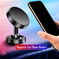 Auf Lager Kreative Aluminiumlegierung Dual Ball Auto Telefonhalter 360 ° Rotation Magnetische Navigation Mobiltelefonhalter