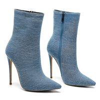 Venta caliente mstacchi nuevo diseño tacones altos botines para las mujeres botines puntiagudos botines azul mezclilla botas damas zapatos de moda mujer tacones altos